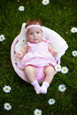Lovely baby girl in the basket Royalty Free Stock Image