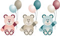 Lovely baby teddy bear with balloons scalable vectorial image representing a isolated on white Royalty Free Stock Photo