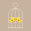 Lovely birds in cage vector illustration Stock Photo