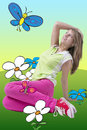 Lovely blond girl teen clothing dreamful peaceful emotion sitting grass looking up high bright background cute drawn flowers Stock Photo