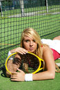 Lovely blond tennis girl Royalty Free Stock Photo