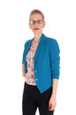 Lovely blond woman waist up a beautiful young in a blue jacket and black pants with glasses standing from front isolated for white Royalty Free Stock Images