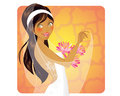 Lovely bride smiling holding a flower bouquet Royalty Free Stock Photography