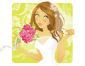 Lovely bride smiling holding a rose bouquet Royalty Free Stock Photography