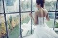Lovely bride waiting for her husband brunette Royalty Free Stock Image