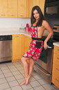 Lovely brunette giry girl in a kitchen wearing an apron Royalty Free Stock Photo