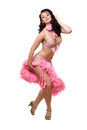 Lovely brunette in pink dancing dress. Isolated Stock Photo