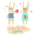 Lovely bunnies are drinking coffee. Hand-drawn drawn inscription.