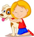 Lovely cartoon little girl hugging pet dog with passion Royalty Free Stock Photo