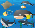 Lovely Cartoon Sea Life Background Stock Image