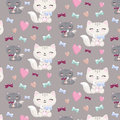 Lovely cartoon seamless pattern with cats , hearts,bones. Royalty Free Stock Photo