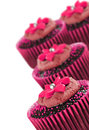 Lovely chocolate cupcakes decorated in pink on white Royalty Free Stock Photo