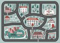 Play mat for children activity and entertainment. Cartoon city landscape