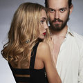 Lovely couple. Beautiful woman touch the man.beauty girl and boy Royalty Free Stock Photo