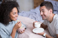 Lovely couple enjoying their honeymoon morning and breakfast Royalty Free Stock Photo