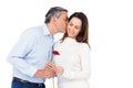 Lovely couple holding flower on white background Royalty Free Stock Image