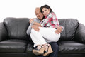 Lovely couple at home portrait of a Royalty Free Stock Image