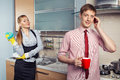 Lovely couple on kitchen Royalty Free Stock Photo