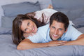Lovely couple smiling at camera Royalty Free Stock Photo