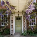 stock image of  Lovely door surrounded by plants and beautiful flowers