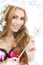 Lovely fairy in crown with magic wand Stock Photos