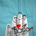 Lovely family hand drawn and finger doctor and nurse we love doc concept on crumpled paper background Stock Images