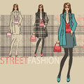 Lovely fashionable girl options ensemble fashion illustration in suit with a short skirt service sketch of model vector Royalty Free Stock Photo