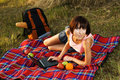 Lovely girl having a rest outdoors Royalty Free Stock Images