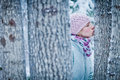 Lovely Girl Kissing a Tree in Forest Royalty Free Stock Photo
