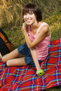 Lovely girl on picnic Stock Photography