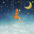 The lovely girl shakes on a swing Royalty Free Stock Photo