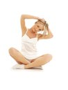 Lovely girl working out over white Royalty Free Stock Photo