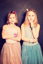 Lovely Girls Sisters. Two Young Teen Girls Friends Royalty Free Stock Photo