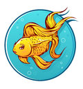 Lovely goldfish cartoon Stock Photos