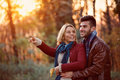 Lovely happy couple in park Royalty Free Stock Photo