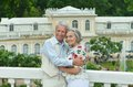Lovely happy mature couple portrait of outdoors Stock Image