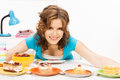 Lovely housewife at the kitchen with sweets bright picture of Royalty Free Stock Photography
