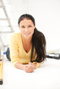 Lovely housewife making repairing works bright picture of Stock Photography