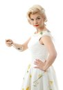 Lovely housewife with scoop in retro style Royalty Free Stock Photography