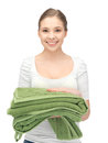 Lovely housewife with towels bright picture of Royalty Free Stock Photos