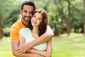 Lovely indian couple young hugging outdoors Stock Photography