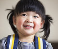 Lovely and innocent asian kid smiled happily Royalty Free Stock Photo