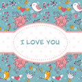 Lovely invitation postcard with birds and flowers Stock Photography
