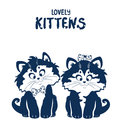 Lovely kittens black and white illustration silhouette cute Royalty Free Stock Images