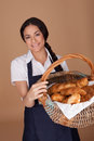 Lovely lady with fresh croissants Stock Images