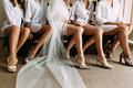 Lovely legs of the bride and her friends Royalty Free Stock Photo