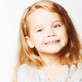 Lovely little girl portrait of funny isolated on white Stock Images