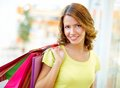 Lovely look portrait of a shopping girl with flirty Stock Photo