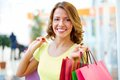Lovely look portrait of a shopping girl with flirty Stock Photography