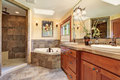 Lovely master bathroom with stone floor and large shower. Royalty Free Stock Photo